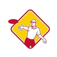 Disc Golf Player Throwing Mascot Diamond vector
