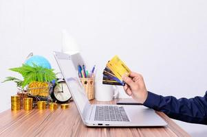 Business professional shopping online