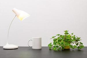 lámpara y taza de café con una planta.
