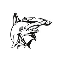 Scalloped Hammerhead Shark or Sphyrna Lewini Front View Retro Woodcut Black and White vector