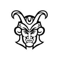 cabeza de loki dios nórdico vista frontal mascota en blanco y negro vector