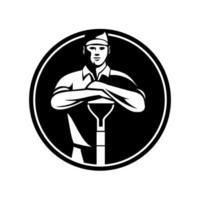jardinero paisajista apoyado en la pala vista frontal retro círculo blanco y negro vector