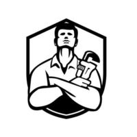 Handyman Plumber With Wrench Shield Retro Black and White vector