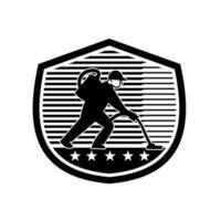 Industrial Cleaner Janitor Vacuuming With Vacuum Cleaning Shield Retro Black and White vector