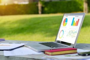 Graphs on a laptop screen, working outdoors