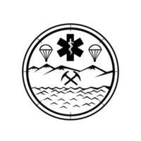 tierra, mar, aire, rescate, icono, señal, símbolo, blanco y negro vector