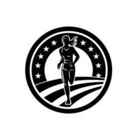 corredor de maratón femenino americano triatleta en blanco y negro vector
