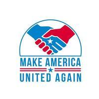 manos americanas en apretón de manos con la estrella de estados unidos y las palabras hacen que america unida de nuevo retro vector