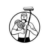 Limpiador de ventanas de gran altura con cuerda y escobilla de goma círculo retro en blanco y negro vector