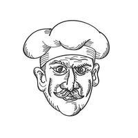 Jefe del chef italiano cocinero panadero o trabajador de alimentos con bigote vista frontal dibujo retro en blanco y negro vector