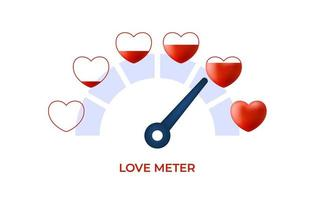 Measuring love concept. Love heart meter vector illustration for Valentine Day card design element with set hearts stock vector