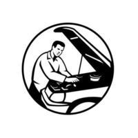 Auto Mechanic Car Repair Circle Retro Black and White vector