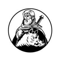 Freyr o dios frey en la mitología nórdica con espada y jabalí retro xilografía en blanco y negro vector