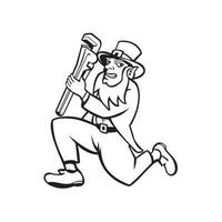 Leprechaun Plumber Running Cartoon Black and White vector