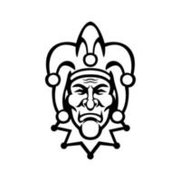 Medieval Court Jester Head Front View Mascot Black and White vector