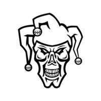 Cabeza de un bufón de la corte o joker cráneo cráneo vista frontal mascota en blanco y negro vector