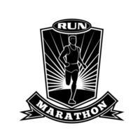 corredor de maratón corriendo vista frontal escudo retro en blanco y negro vector