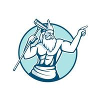 Neptune Holding Pool Scrub Mascot vector