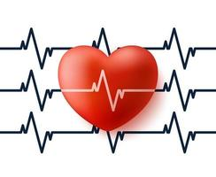 corazón y pulso. Corazón de vector 3D con ilustración de vector de icono de reflexión de cardiograma. banner o tarjeta del día de san valentín