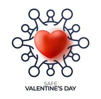 Safe valentine day concept. Red valentine love heart and outline Quarantine biohazard danger. Coronavirus Covid and love heart. Vector illustration