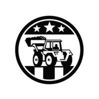 Excavadora excavadora mecánica bandera de EE. UU. en blanco y negro vector