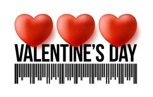 Código de barras del día de San Valentín con tres corazones 3d realistas. concepto de venta de ilustración de vector de día de San Valentín de amor
