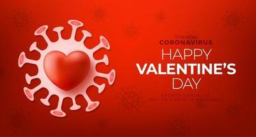 Corazón de amor de San Valentín rojo y peligro biológico de cuarentena. coronavirus covid y concepto cancelado del día de san valentín. ilustración vectorial vector