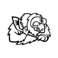 Musk Ox Ice Hockey Player Mascot Black and White vector