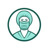 Nurse Wearing Surgical Mask Icon