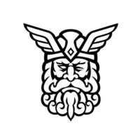 cabeza de odin dios nórdico vista frontal mascota en blanco y negro vector