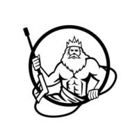 Neptune Holding Power Washer Wand or Water Blaster Circle Retro Black and White vector