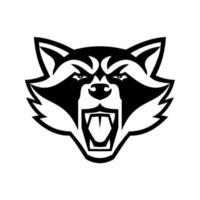 Head of Angry North American Raccoon Front View Mascot Black and White Mascot vector