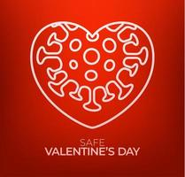 Safe valentine day concept. Red valentine love heart and Quarantine biohazard danger. Coronavirus Covid and love heart. Vector illustration