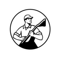 Professional Carpet Cleaner Holding a Vacuum Circle Retro Black and White vector