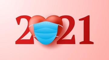 Día de San Valentín 2021 corazón 3d realista con fondo de concepto de mascarilla médica. ilustración vectorial. 2021 año del concepto de amor. vector