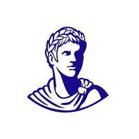 antiguo emperador romano mirando mascota lateral vector