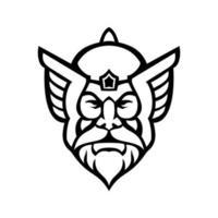 cabeza de thor, dios nórdico, vista frontal, mascota, blanco y negro vector