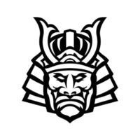 Head of Samurai Warrior Wearing Mengu or Mempo Mascot Black and White vector