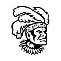 African Zulu Warrior Head Wearing Feather Headdress Mascot Black and White vector