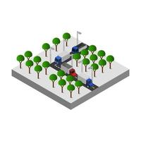 Illustrated Isometric Road Crossing On White Background