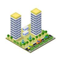 rascacielos isométrico ilustrado sobre fondo blanco vector