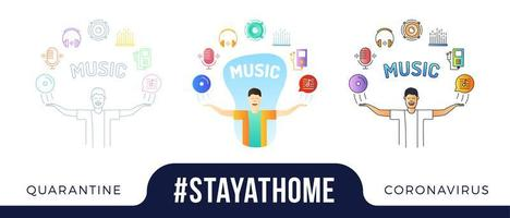 Stay at home concept illustration. character with his hands up and start up Icons are arranged in a semicircle above the head. Coronavirus or Covid-19 protection vector illustration set