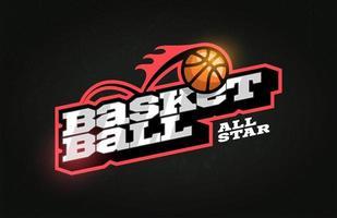 tipografía profesional moderna baloncesto deporte estilo retro vector emblema y plantilla de diseño de logotipo. saludos divertidos para ropa, tarjeta, insignia, icono, postal, banner, etiqueta, pegatinas, impresión.