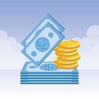 coins and bills money dollars icons