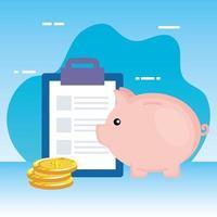 monedas dinero dólares con lista de verificación y alcancía