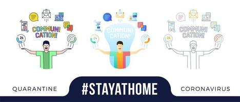 Stay at home concept illustration. character with his hands up and communication Icons are arranged in a semicircle above the head. Coronavirus or Covid-19 protection vector illustration set