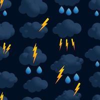 vector de patrones sin fisuras de lluvia de nubes de relámpago. trueno, nube oscura, patrón, seamless, en, simple, estilo, vector, ilustración