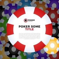 Casino chips vector white background with place for your text.