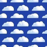 vector nube de patrones sin fisuras. aire natural con nubes mullidas, atmósfera repetida diseño decorativo. ilustración de dibujos animados de estilo plano de vector