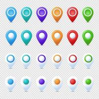 Location pins mega set. Marker 3D. Map pointer pin vector set isolated. Web location point, pointer 3d arrow mark.